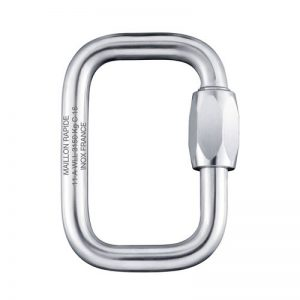 Inox schroefkarabijn 7mm, ideaal voor de verbinding sling-noodparachute, te verkrijgen bij ikarus.be!